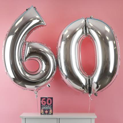 60th Birthday Giant Silver Number Balloons