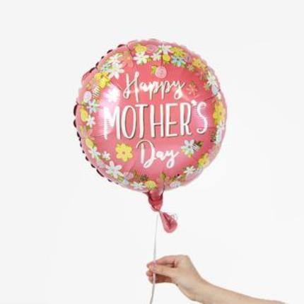 Balloons - Happy Mother's Day Pink and Colourful Flowers Balloon - Image 1