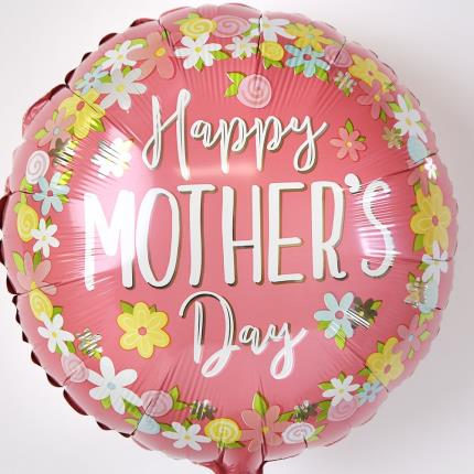 Balloons - Happy Mother's Day Pink and Colourful Flowers Balloon - Image 3