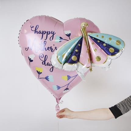 Balloons - Supersize Happy Mother's Day Butterfly and Flower Balloon - Image 1