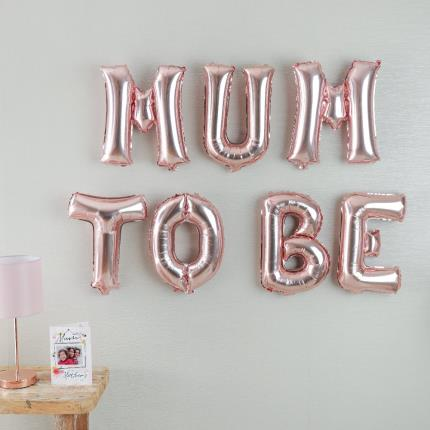 Balloons - Letterbox 'Mum To Be' Rose Gold Balloons - Image 1