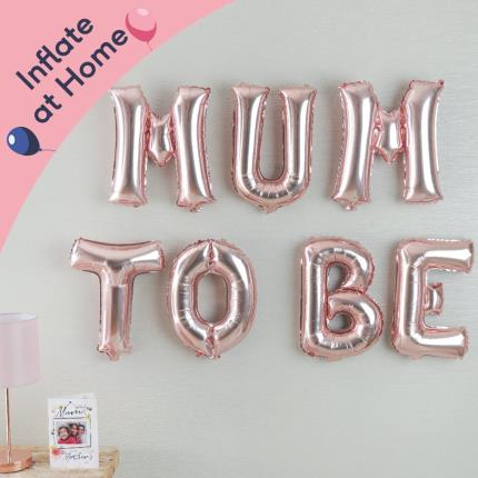 Balloons - Letterbox 'Mum To Be' Rose Gold Balloons - Image 2
