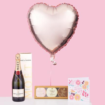 Balloons - Mother's Day Balloon Bouquet, Prosecco & Chocolate Gift Set - Image 1