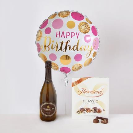 Balloons - Happy Birthday Balloon, Prosecco & Chocolates Gift Set - Image 1