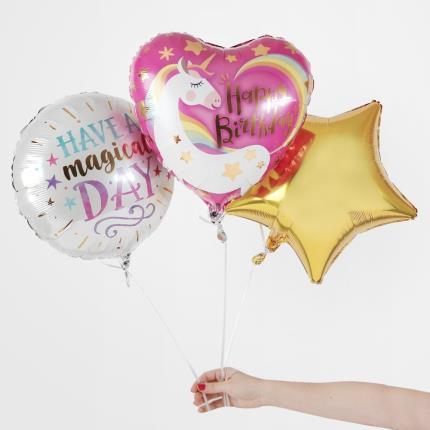 Balloons - Magical Unicorn Birthday Balloon Trio - Image 1