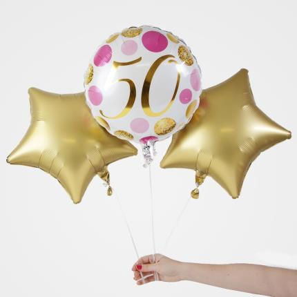Balloons - 5Oth Birthday Balloon Trio - Image 1