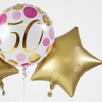 Balloons - 5Oth Birthday Balloon Trio - Image 4