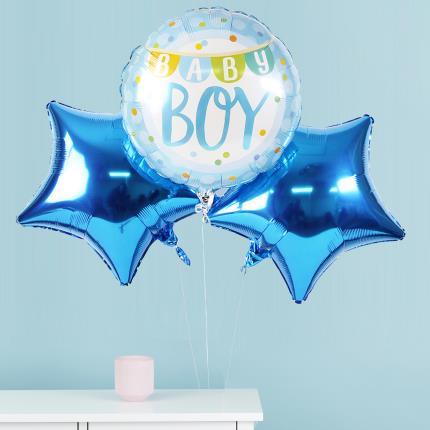 Balloons - New Baby Boy Balloon Trio - Image 1