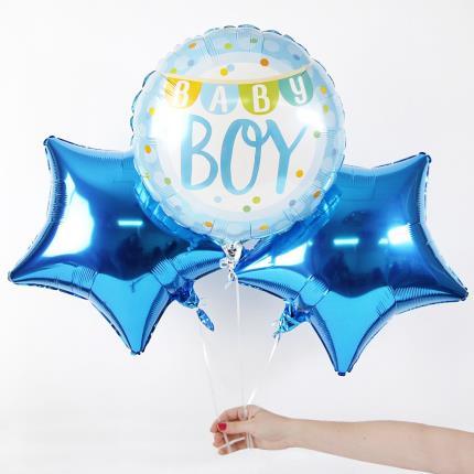 Balloons - New Baby Boy Balloon Trio - Image 4