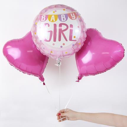 Balloons - New Baby Girl Balloon Trio - Image 1