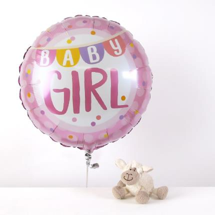 Balloons - New Baby Girl and Lamb Soft Toy Gift Set - Image 1