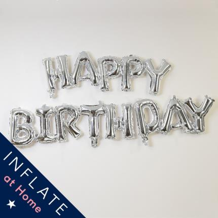 Balloons - Letterbox Happy Birthday Silver Script Balloon - Image 1