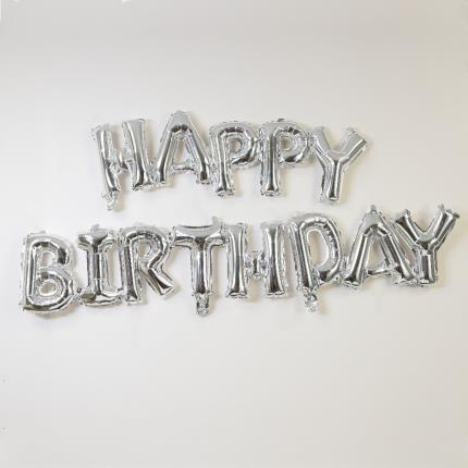 Balloons - Letterbox Happy Birthday Silver Script Balloon - Image 2