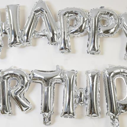 Balloons - Letterbox Happy Birthday Silver Script Balloon - Image 3