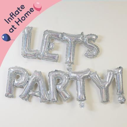 Balloons - Letterbox Let's Party Silver Balloon - Image 2