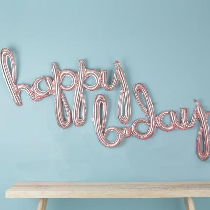 Balloons - Letterbox Rose Gold Happy Birthday Script Balloons - Image 2