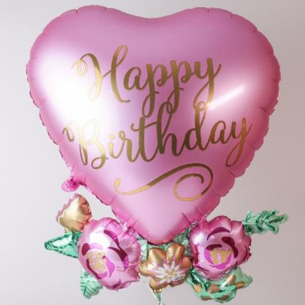 Balloons - Giant Happy Birthday Floral Heart Balloon - Image 3