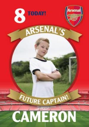 Greeting Cards - Arsenal FC Birthday Card - 8 today Arsenal's Future Captain - Image 1