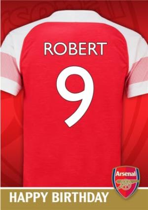 Greeting Cards - Arsenal FC Birthday Card - Name and number on jersey - Image 1