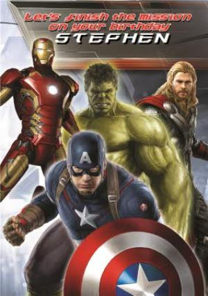 Greeting Cards - Marvel Avengers Let's Finish This Mission Personalised Birthday Card - Image 1