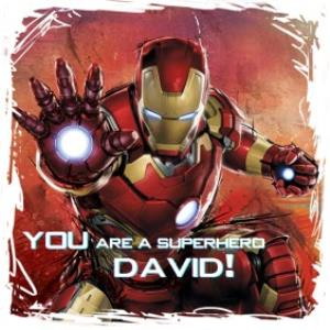 Greeting Cards - Marvel Iron Man You're A Superhero Personalised Name Card - Image 1