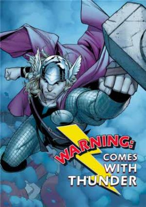 Greeting Cards - Marvel Avengers Birthday card - Warning: Comes with THUNDER - THOR - Image 1