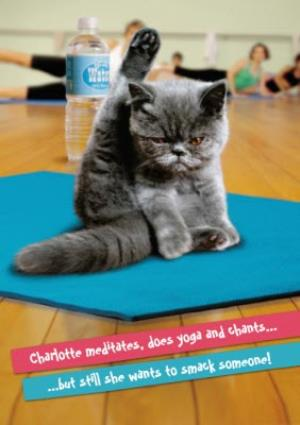 Greeting Cards - Angry Yoga Cat Personalised Card - Image 1
