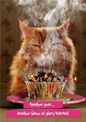 Greeting Cards - Birthday Card - Cat - Birthday Cake - Blaze Of Glory - Image 1