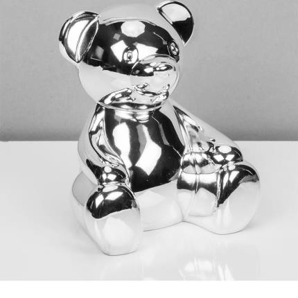 Toys & Games - Silver Plated Teddy Bear Money Box - Image 1