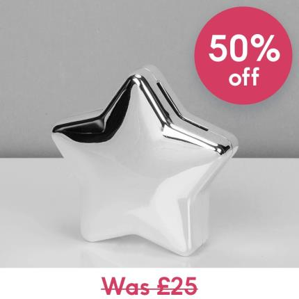 Toys & Games - Silver Plated Star Money Box - Image 1
