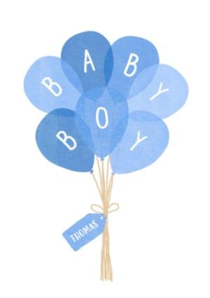 Greeting Cards - Balloons Baby Boy Personalised Birthday Card - Image 1