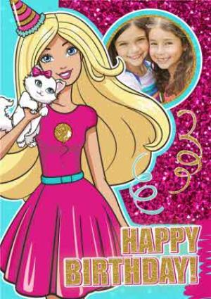 Greeting Cards - Barbie And Glitter Happy Birthday Photo Card - Image 1