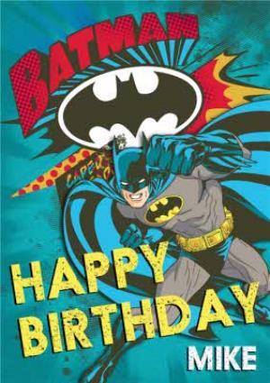 Greeting Cards - Blue Batman And Bat Signal Personalised Birthday Card - Image 1