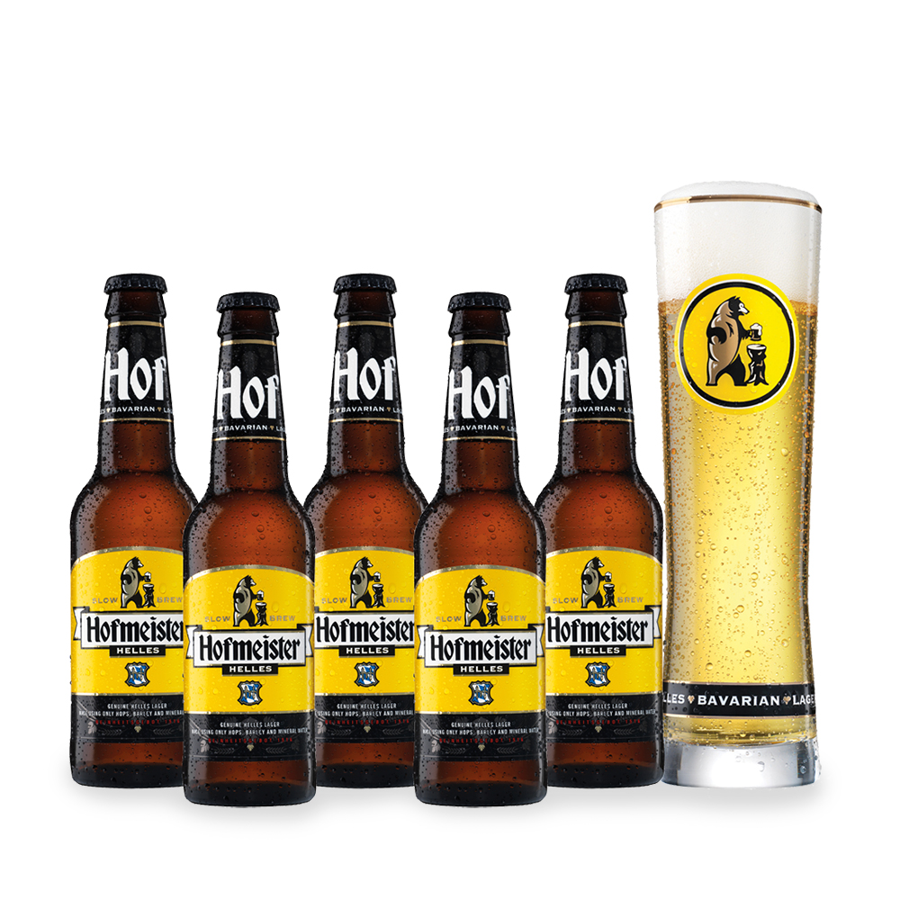 Alcohol Gifts - Hofmeister 5 Pack Selection & Glass - Image 1