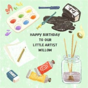 Greeting Cards - Bits And Bobs Little Artists Personalised Card - Image 1