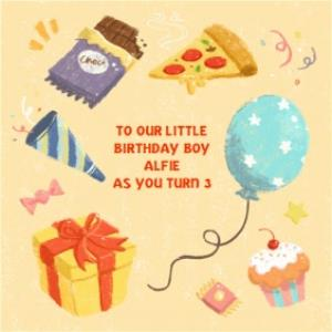 Greeting Cards - Bits And Bobs Little Birthday Boy Personalised Card - Image 1