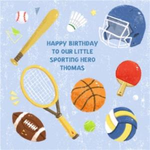 Greeting Cards - Bits And Bobs Our Sporting Hero Personalised Birthday Card - Image 1