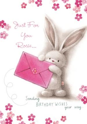 Greeting Cards - Be Bunni And Pink Flowers Personalised Just For You Card - Image 1