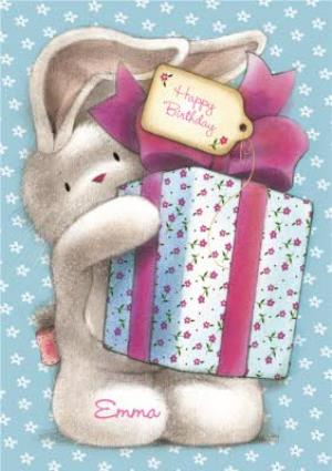Greeting Cards - Be Bunni With Big Present Personalised Birthday Card - Image 1