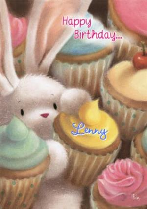 Greeting Cards - Be Bunni Cupcakes Personalised Happy Birthday Card - Image 1