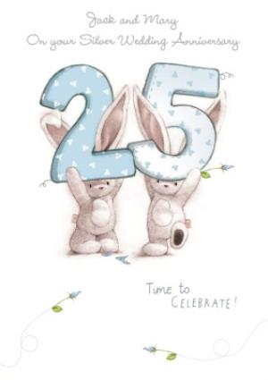 Greeting Cards - Be Bunni Time To Celebrate Personalised 25th Wedding Anniversary Card - Image 1