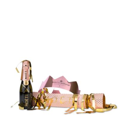 Alcohol Gifts - Mini Moet Rose Cracker WAS £25 NOW £22 - Image 1
