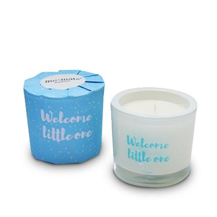 Beauty - Me&Mats 'Welcome Little One' Blue Candle - Image 1