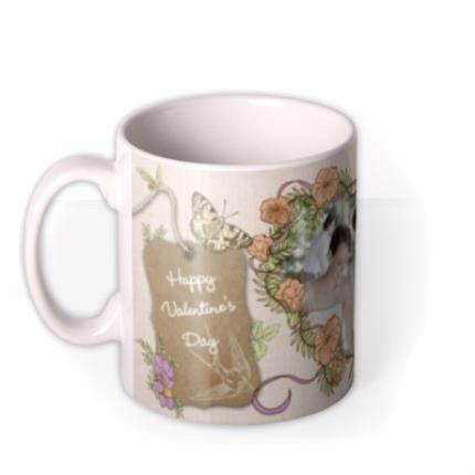 Mugs - Flowers and Big Heart Photo Upload Mug - Image 1