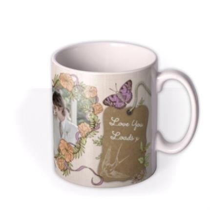 Mugs - Flowers and Big Heart Photo Upload Mug - Image 2