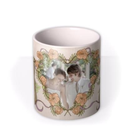 Mugs - Flowers and Big Heart Photo Upload Mug - Image 3