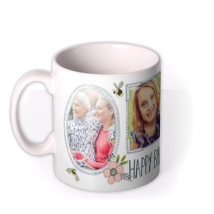 Mugs - Pretty Flowers And Bees Multi-Photo Birthday Mug - Image 1