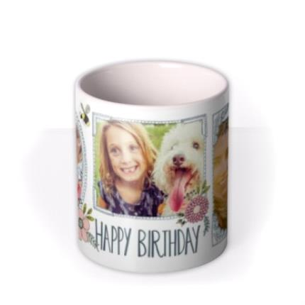 Mugs - Pretty Flowers And Bees Multi-Photo Birthday Mug - Image 3