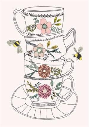 Greeting Cards - Mother's Day Card - Illustrated Tea Cups - Flowers and Bees - Image 1