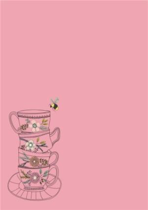Greeting Cards - Mother's Day Card - Illustrated Tea Cups - Flowers and Bees - Image 2